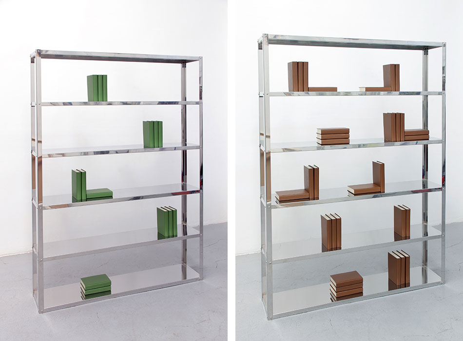 Left: Werther Bookshelf 2009 Stainless steel, books 14 books 200 x 145 x 30 cm Right: El amor en los tiempos del cólera 2009 Stainless steel, books 31 books 200 x 145 x 30 cm Photo © Jorge Méndez Blake.