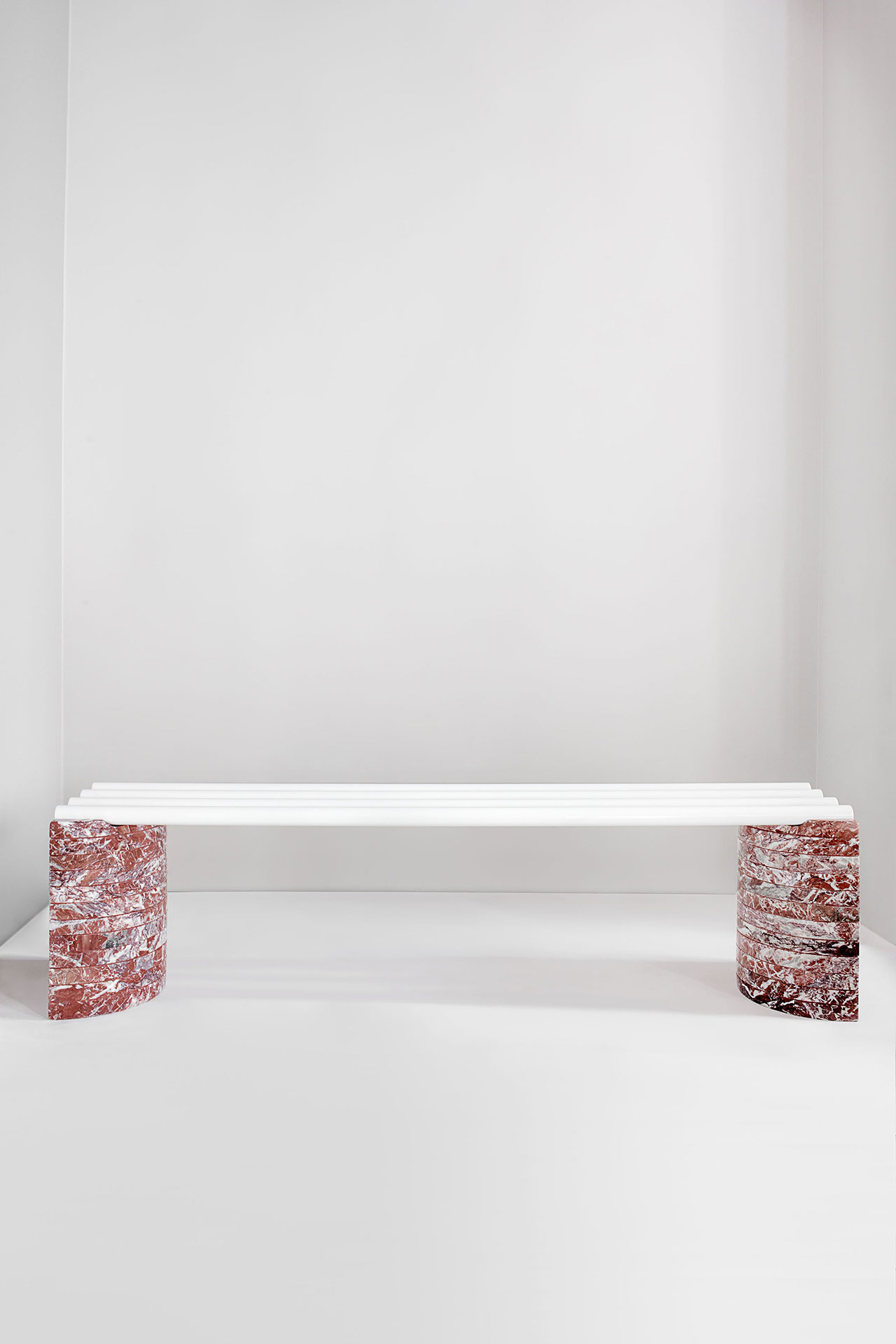 Objects of Common Interest, Parallel Bench, 2016. Marble, Steel Tubes. Photo by Matthieu Salvaing.
