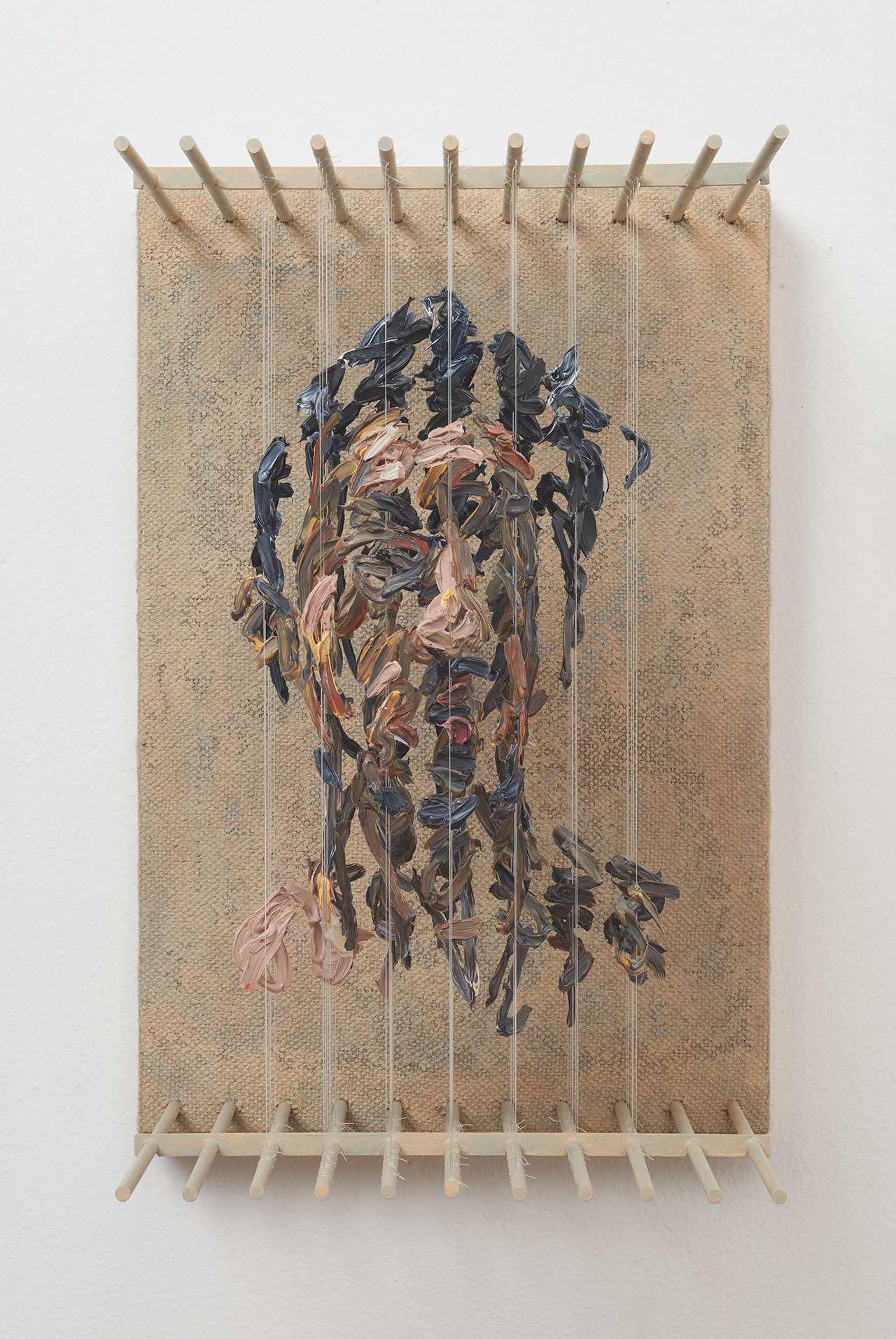 Chris Dorosz, s.r.o, 2017. Acrylic paint on monofilament, metal, jute on board ,14 H x 9.25 W x 11D inches. Photo courtesy of Muriel Guépin and the artist.