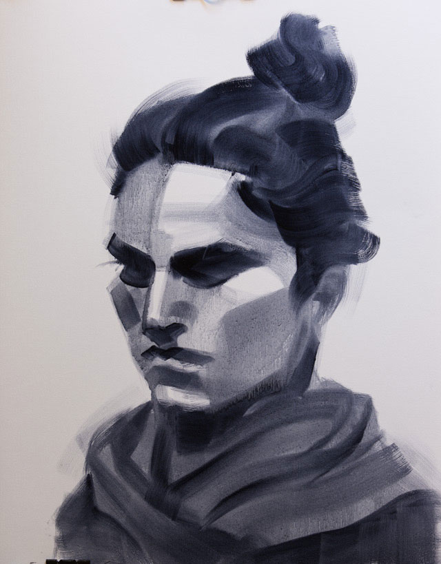 Salman Khoshroo, Sketch study, oil on paper, 50x65cm.
