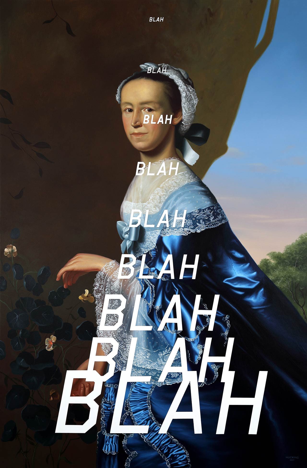 Shawn Huckins, Mrs James Warren: Blah Blah Blah, 2017. Acrylic on canvas, 80 x 52 in (203 x 132 cm).