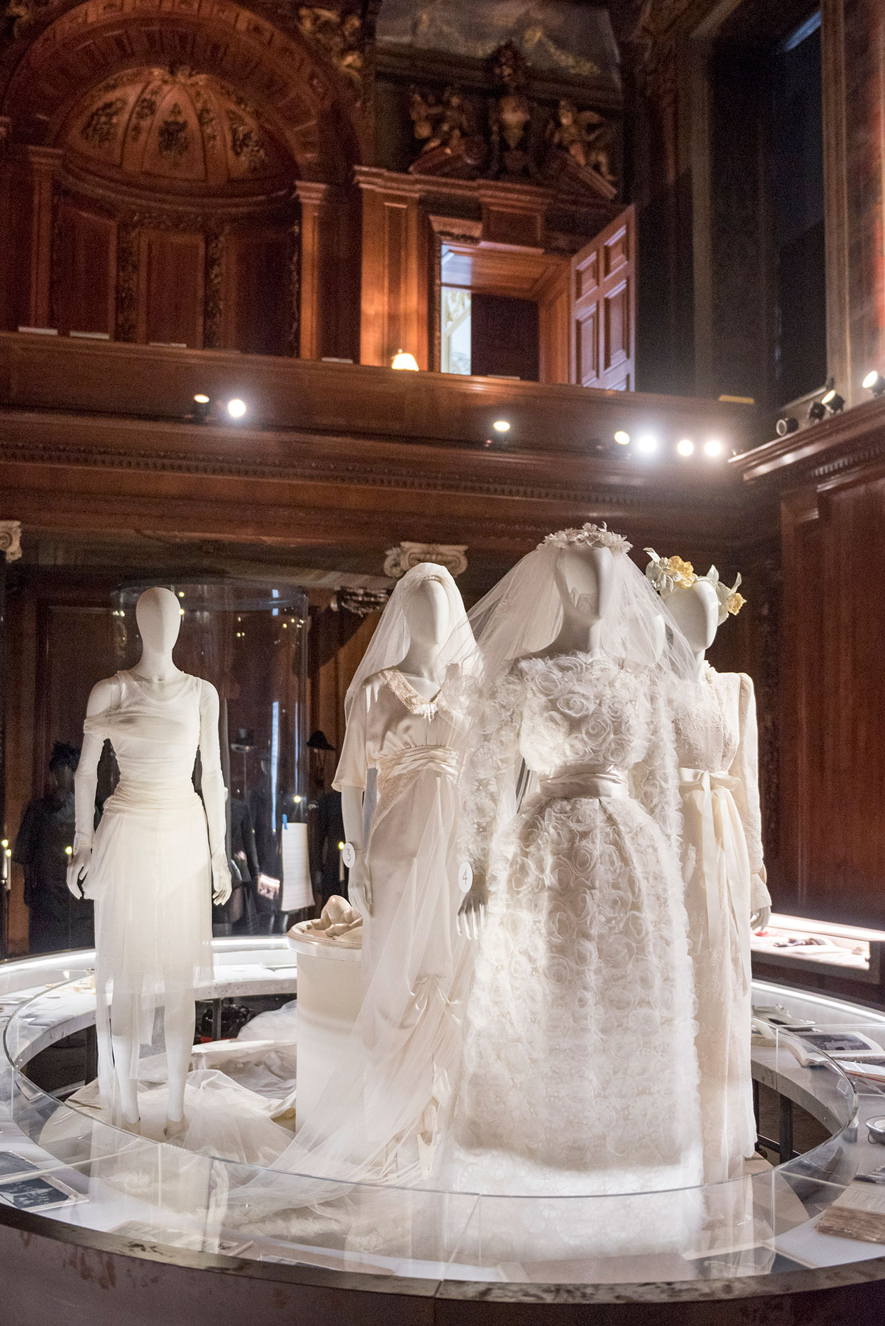Wedding dresses of the family in the Chapel, part of the Circle of Life display. Photo courtesy Chatsworth House Trust.