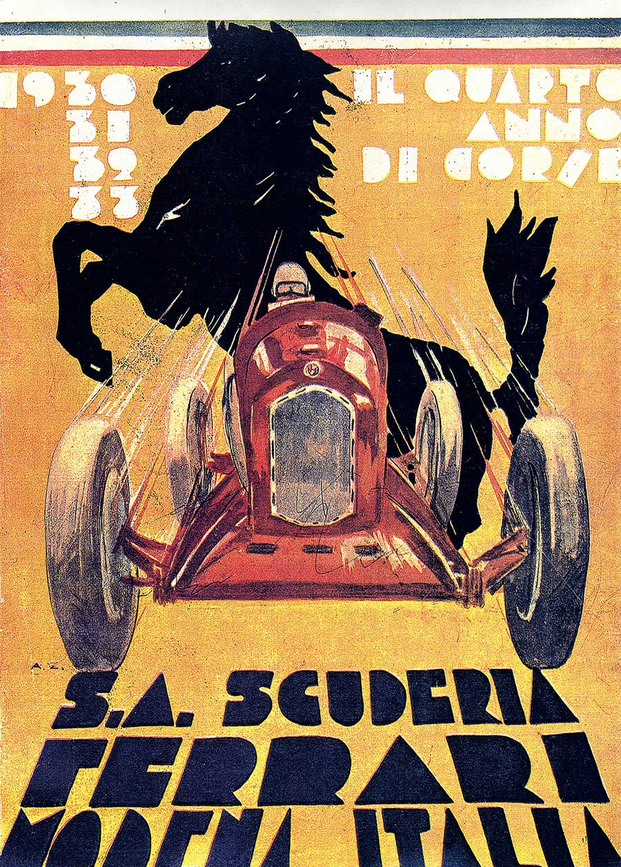 Scuderia Ferrari poster designed to celebrate Scuderia's fourth year of agility 1933. Photo courtesy of Ferrari.