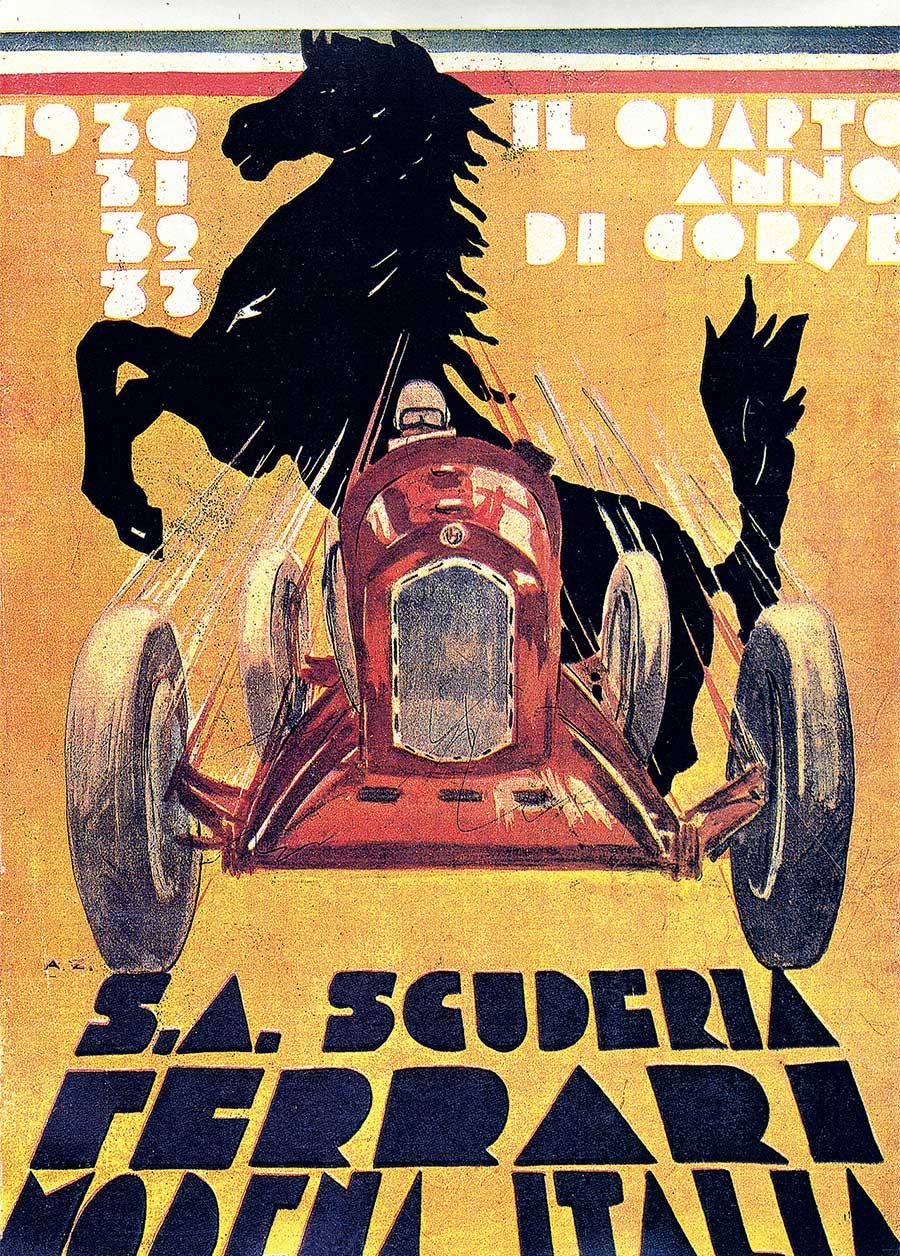Scuderia Ferrari poster designed to celebrate Scuderia's fourth year of agility 1933. Photo courtesy of Ferrari.