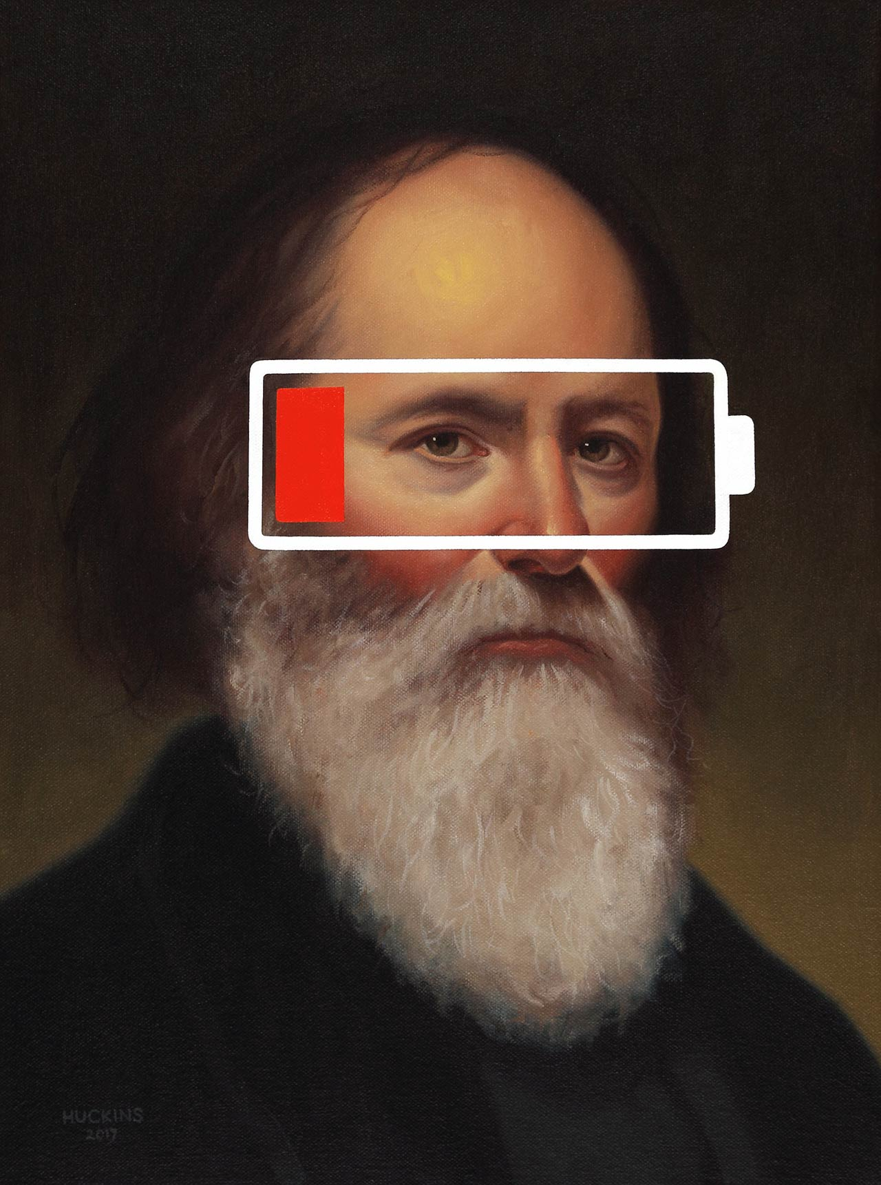 Shawn Huckins, Charles Loring Elliot: Panic One (Low Battery), 2017. Acrylic on canvas, 16 x 12 in (41 x 30 cm).