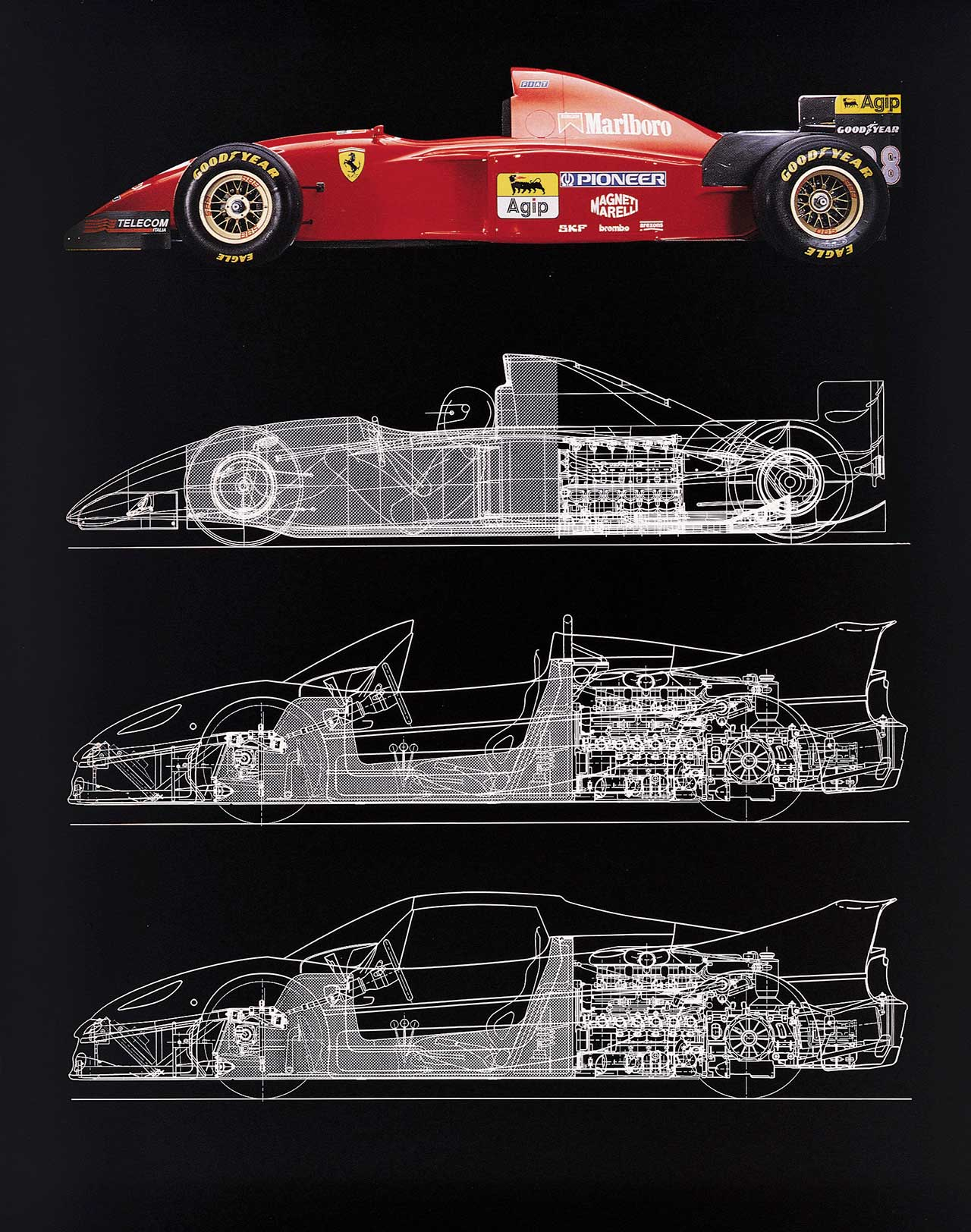 412 T2 drawing 1995. Photo courtesy of Ferrari.