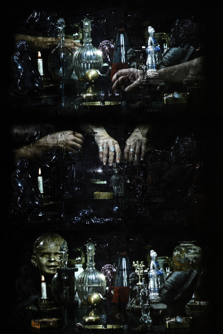 Gonzalo Borondo, Matière Noire. Act III, Interpretation. Marche, collaboration with BRBR films. Hologram in antique shop © Laurent Carte.