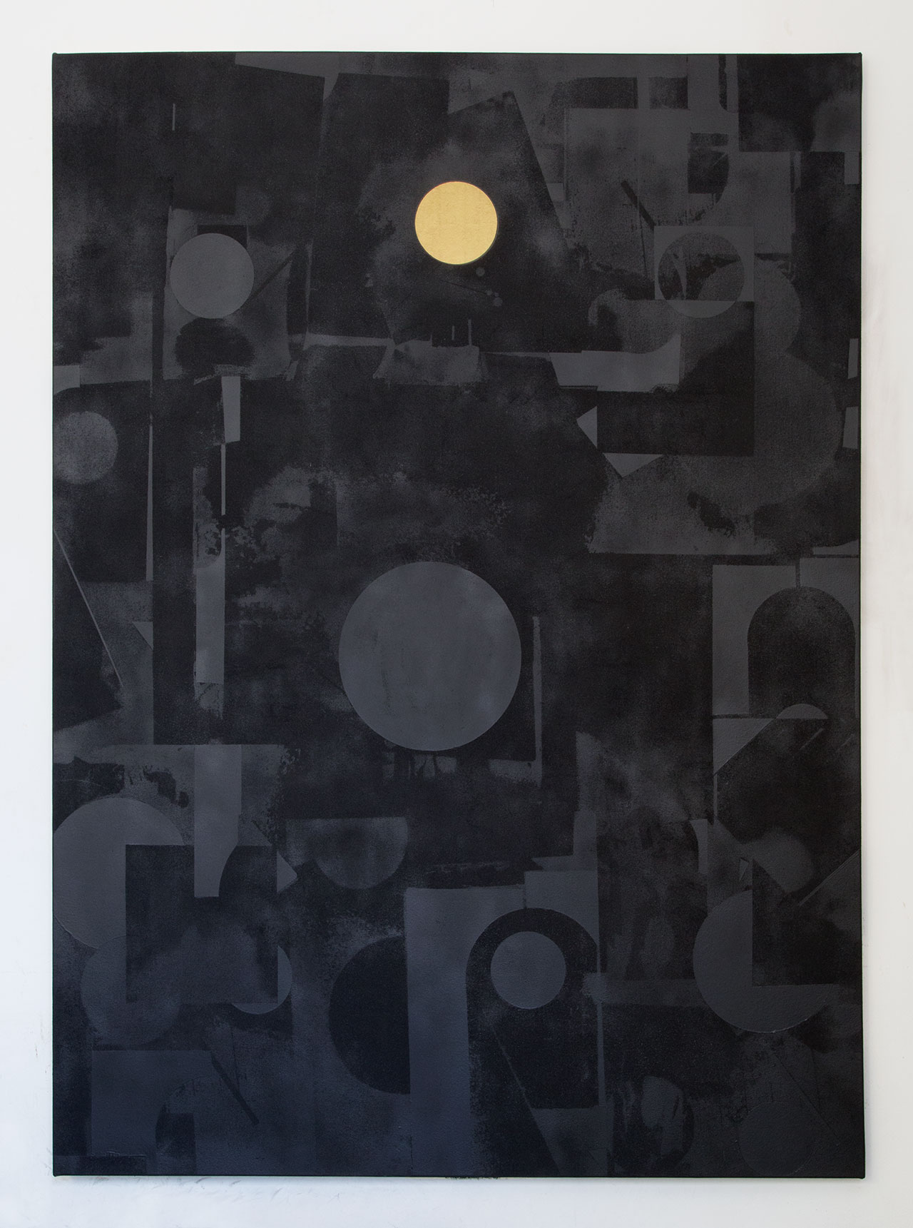 Panos Tsagaris, The Soul of the Sun,gold leaf, acrylic paint, spray paint and silkscreen on canvas, 180x130 cm, 2016.Courtesy of the artist and Kalfayan Galleries, Athens-Thessaloniki.