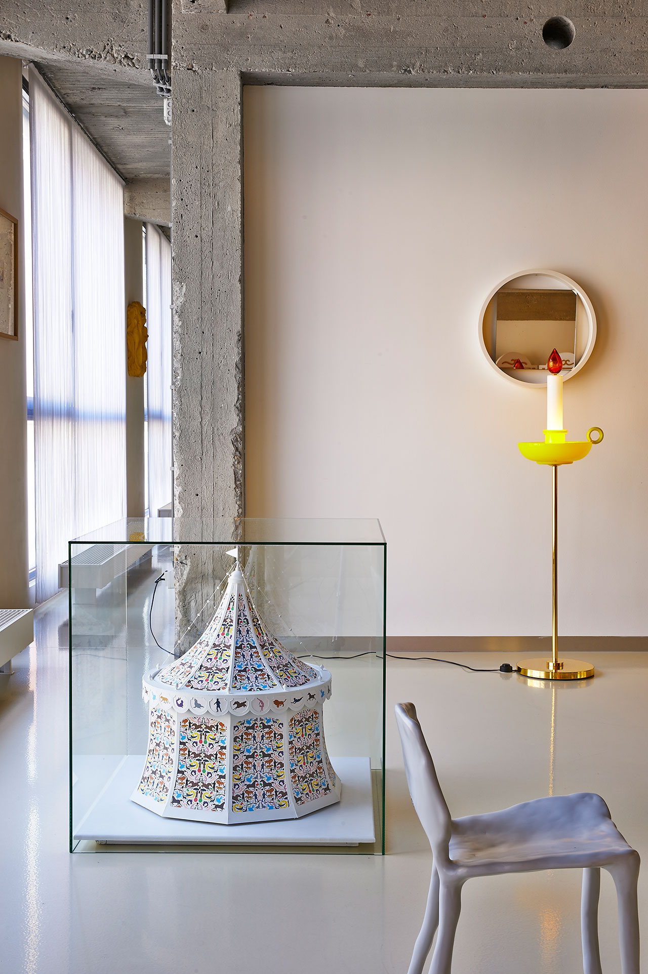 Office. Circus, Studio Job. Sconce, Studio Job for Venini. Mirror, Benno Premsela. Children's Clay Chair, Maarten Baas. Photo by Dennis Brandsma.