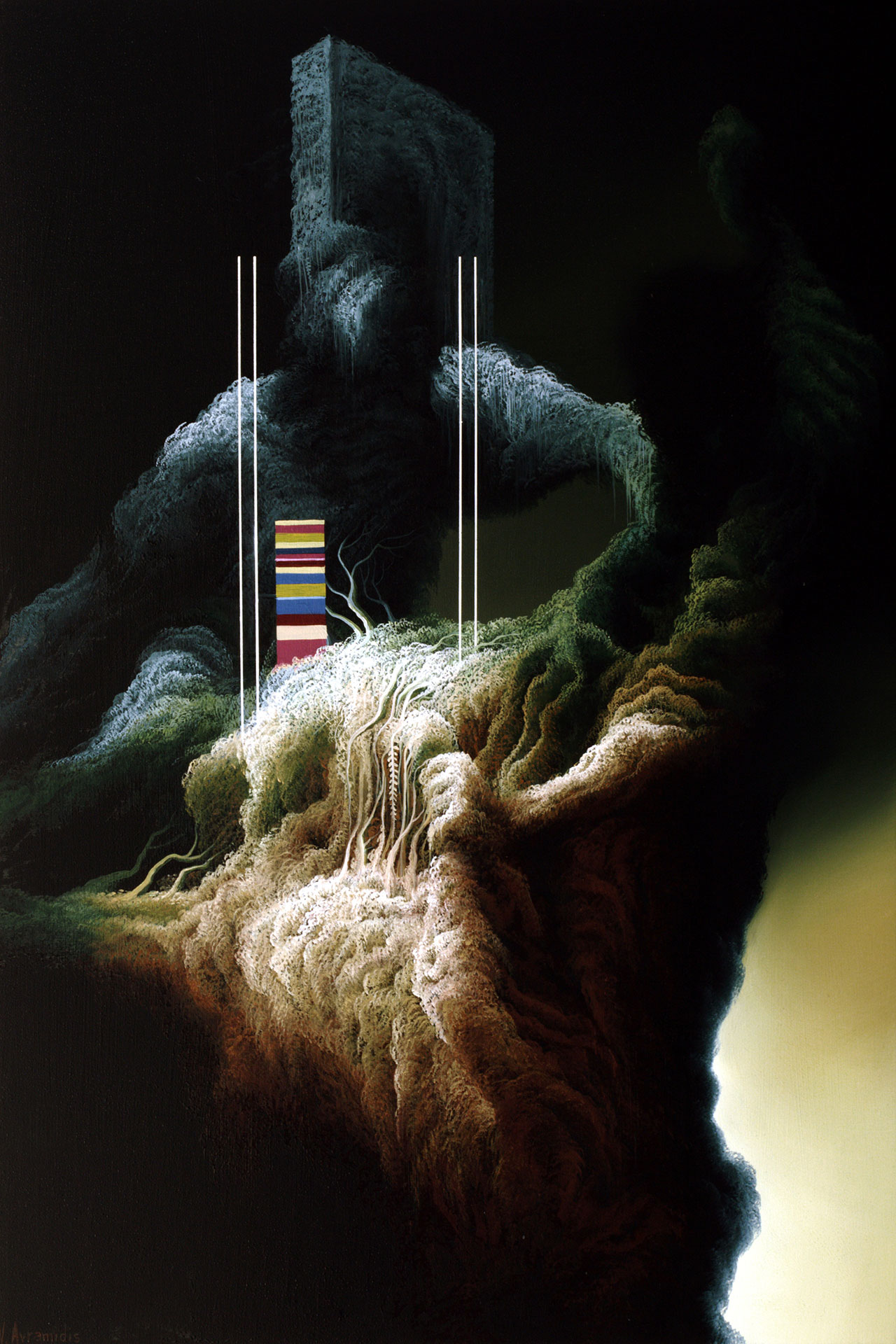 Vasilis Avramidis,Lift, 2016, 60x40cm oil on canvas.