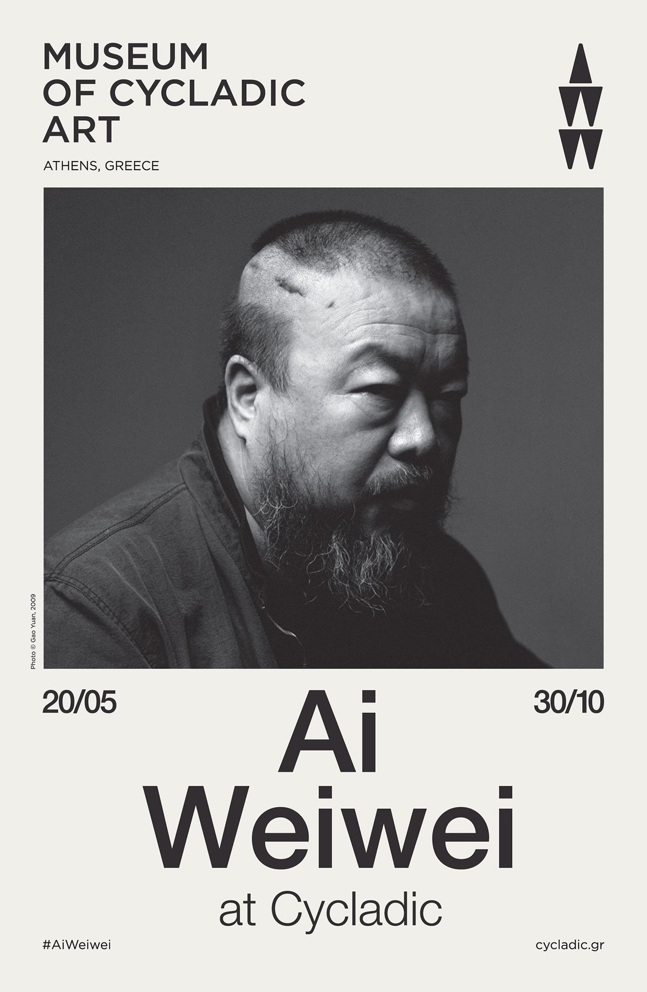 Ai Weiwei at Cycladic, Exhibition poster © Museum of Cycladic Art.