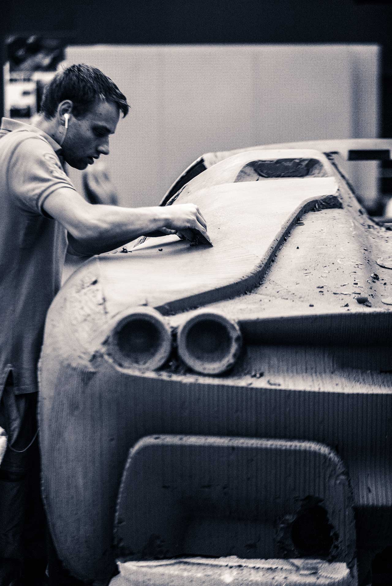 Crafting of clay design model of Ferrari J50. Photo courtesy of Ferrari.