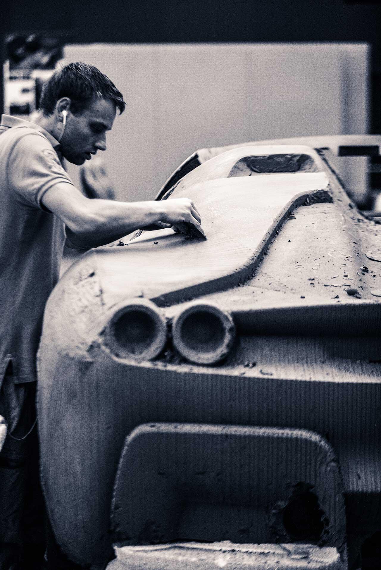 Crafting of clay design model of Ferrari J50.Photo courtesy of Ferrari.