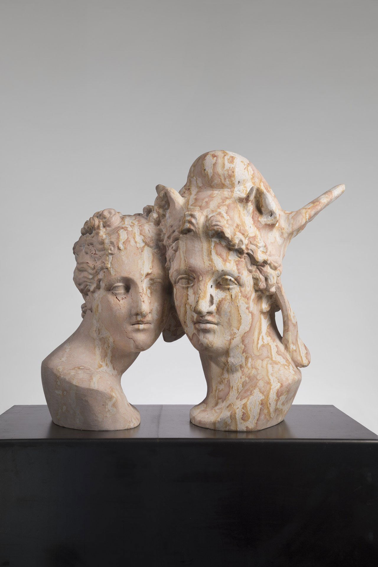 Massimiliano Pelletti, Impossible Love, 2017. Etruscan red marble, 71 x 70 x 44 cm.