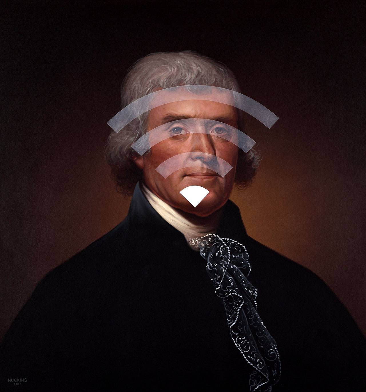 Shawn Huckins, Thomas Jefferson: Panic Four (Spotty WiFi), 2017. Acrylic on canvas, 32 x 30 in (81 x 76 cm).