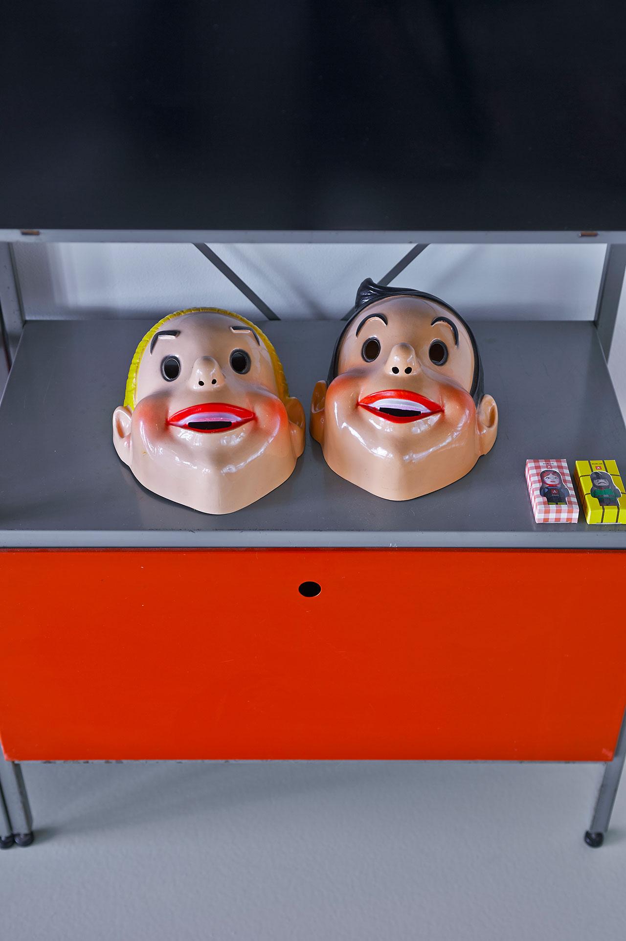 Studio. Cabinet: 663 Gispen, Wim Rietveld, 1954. Masks, Suske & Wiske, 60 years.USB Sticks: Farm, Nynke & Job, 2010.