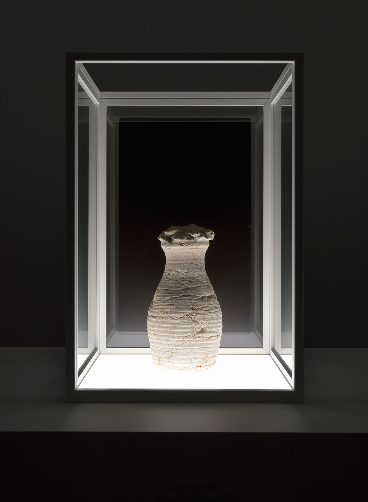 Giuseppe Penone, Il vuoto del vaso (The void of the vase) , 2005. Terracotta, 3 X-raysTerracotta: 16 ½ x 9 5/8 in. (42 x 24.5 cm)Metal structure: 34 13/16 in. (88.5 x 60 x 60 cm). Photo by Rebecca Fanuele. Courtesy the artist and Marian Goodman Gallery.