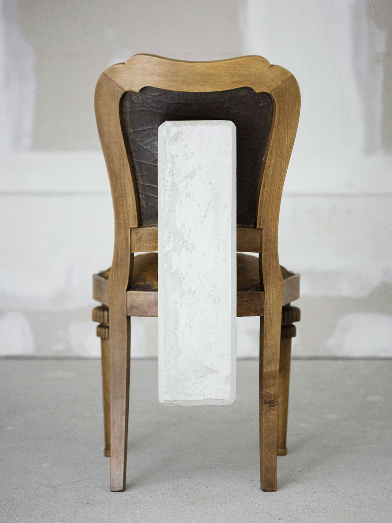 "Nucleo (Piergiorgio Robino + Marzia Ricci), ""Boolean"" And (Chair), 2017. Concrete, vintage furniture, 61 x 49 x 95h cm. Unique piece in an edition 1+1. Photo by Studio Pepe Fotografia."