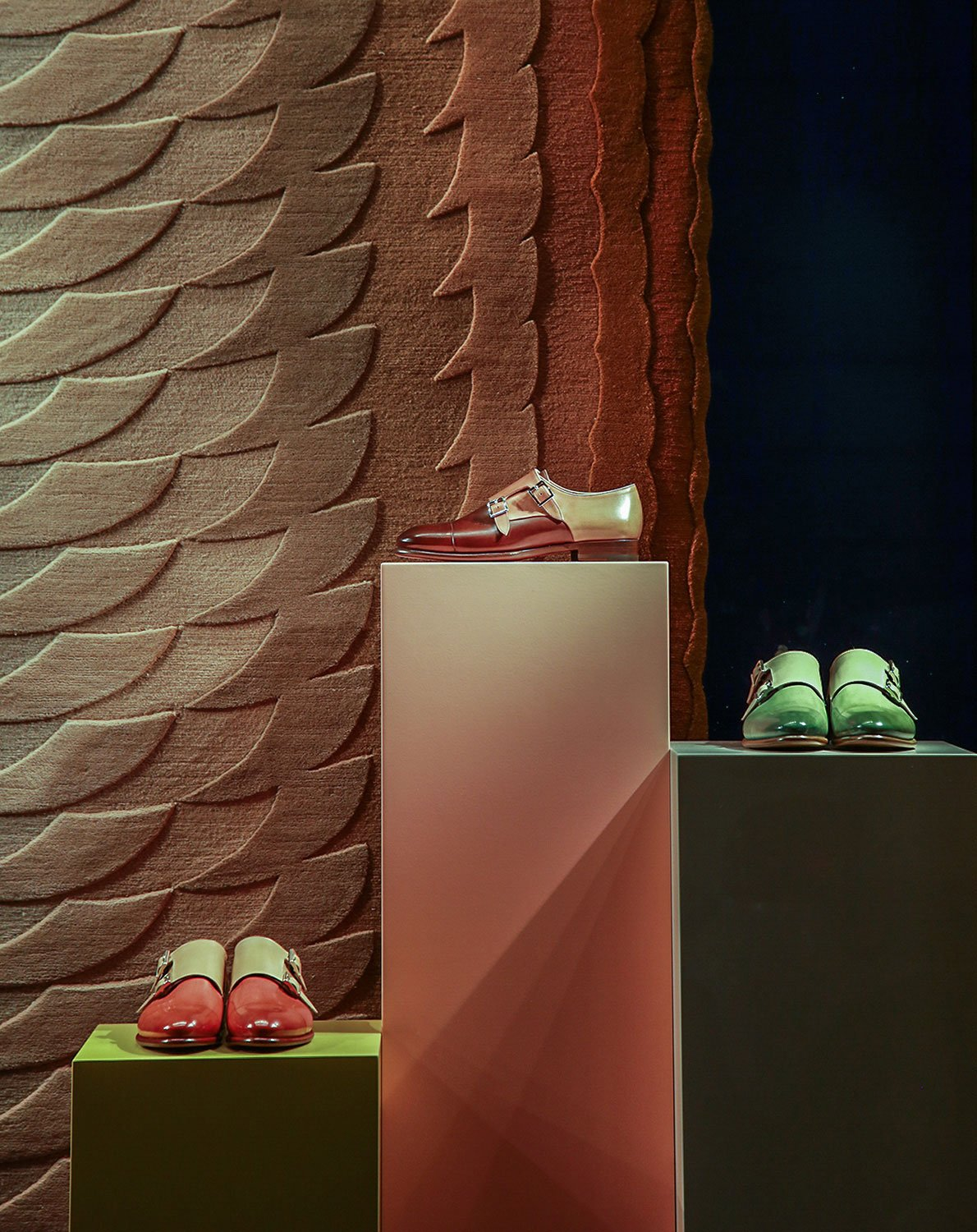 The new collection of Slinkie rugs by Patricia Urquiola for cc-tapis was featured in the window of Santoni boutique among limited-edition double monk shoes which were produced in the same color palette with the rug.
