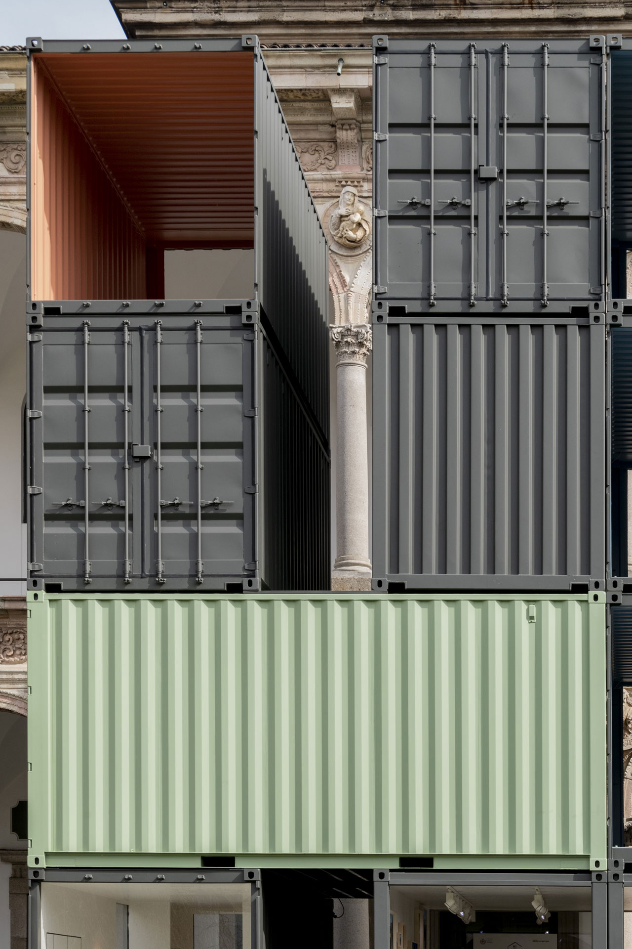My Dream Home architecture/installation of 12 stacked freight containers (6 x 8,50 x h 12,50 m.) by Piero Lissoni/Lissoni Associati from an idea of Elisabetta Illy and Stefano Guindani in collaboration with DMECO ENGINEERING. (A charity project in favor of Francesca Rava Foundation N.P.H. Italy Onlus). Exhibited at the INTERNI HOUSE IN MOTION exhibition. Photo by Saverio Lombardi Vallauri, Courtesy of INTERNI magazine.
