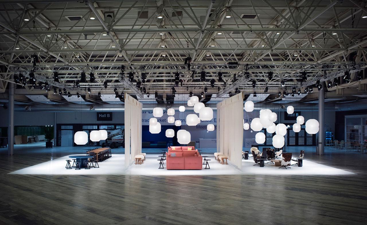 Barber & Osgerby's Triptych installation took centre stage in the foyer of the Stockholmsmässen. Photo byGustav Karlsson Frost.