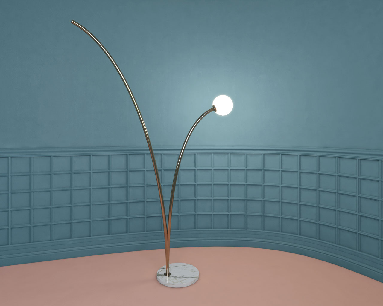 BALZO floor lamp by Studio Lievito. A curved metal tube simulates the ascending and descending parabola of a sphere during a rebound.
