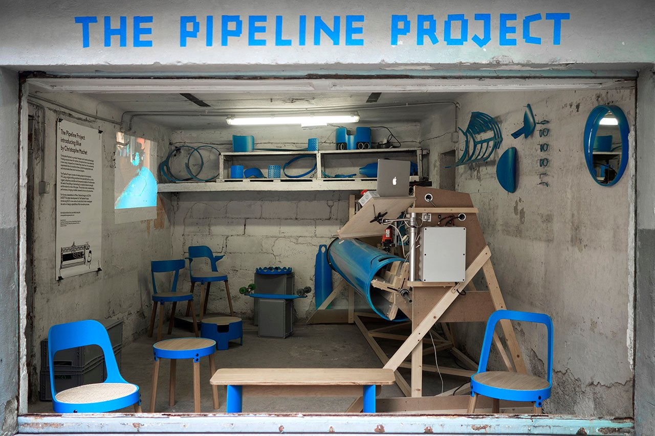 The Pipeline Project by Christophe Machet. Furniture and objects made from industrial PVC pipes. Photo Marie Douel.