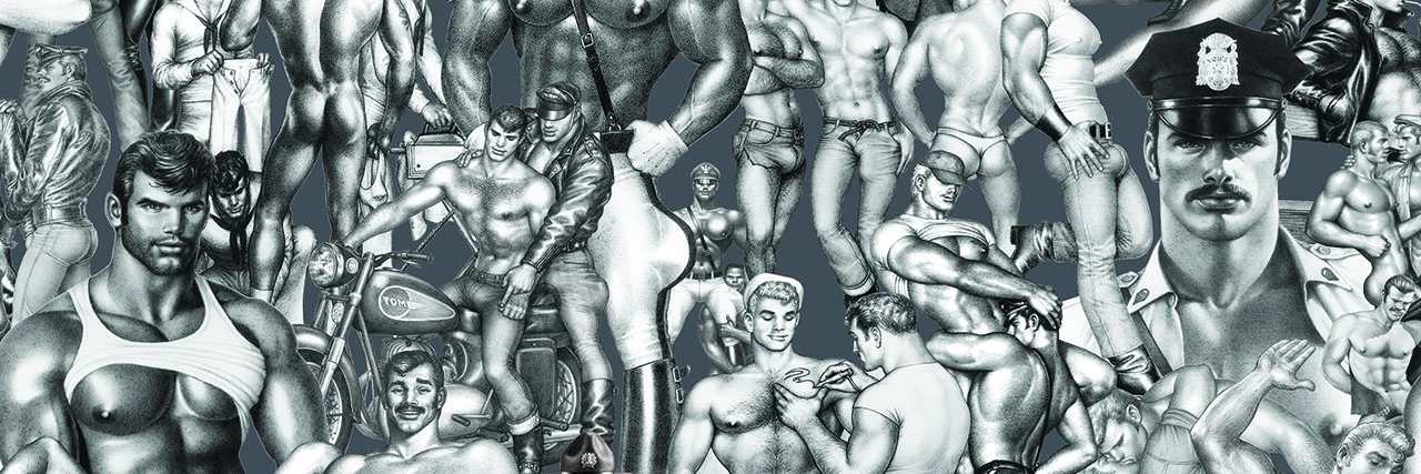 Tom of Finland wallpapers by Michael Reynolds,  Hoffman Creative,  Flavor Paper and Tom of Finland Foundation  for Wallpaper*Handmade 2019.Conceived by Michael Reynolds and Hoffman Creative, the design combines archival illustrations by Tom of Finland with expert manufacturing by Flavor Paper.