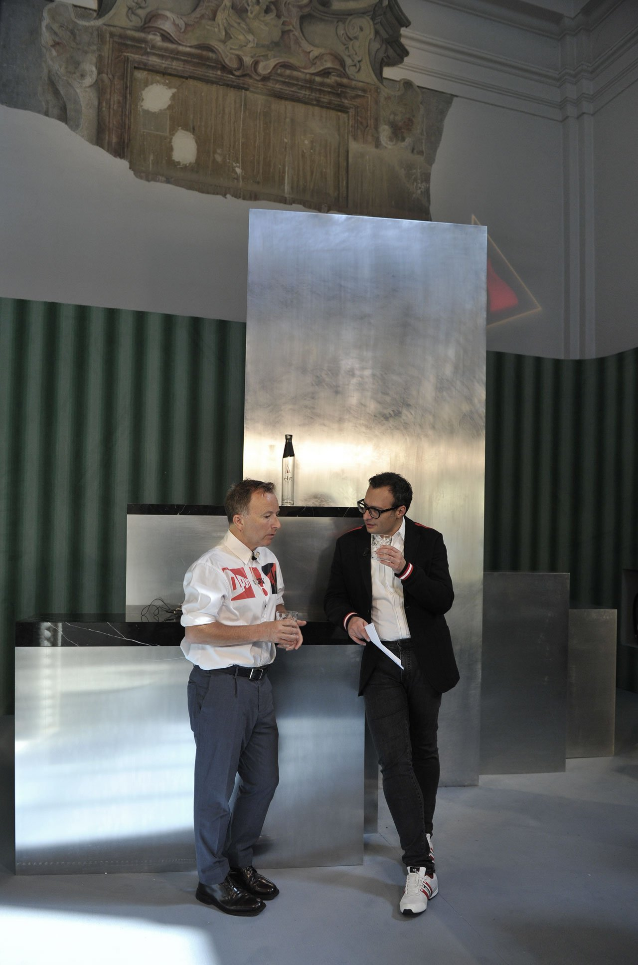 Tony Chambers of Wallpaper* with Vadim Grigoryan, creative director of elit® Vodka by the ELIT PROUN BAR at MDW18.