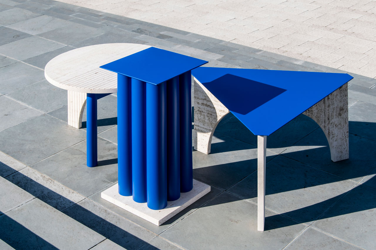 TuttoSesto, a collection of coffee tables in travertine and blue by Davide G. Aquini.