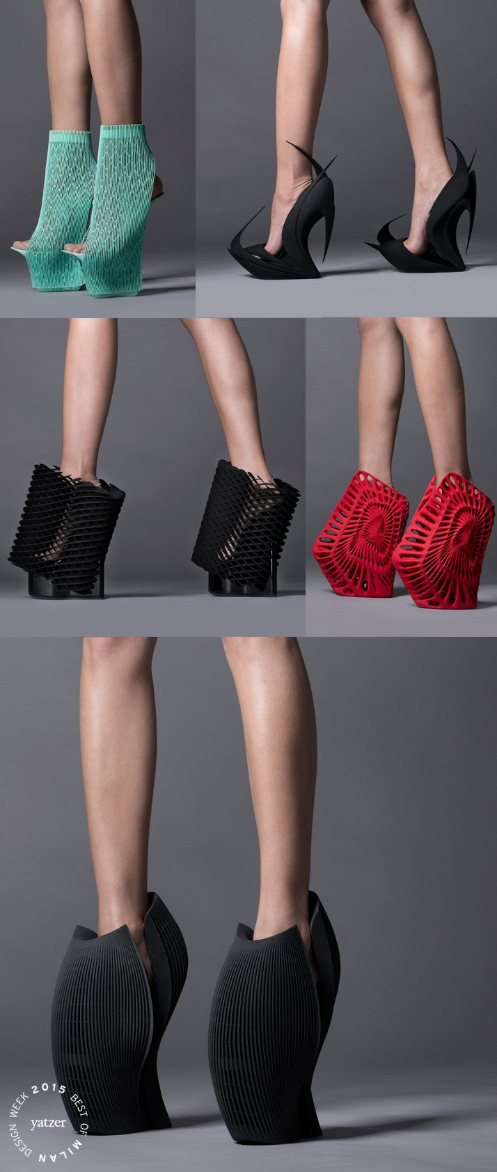 The Re-Inventing Shoes project by United Nude and 3D systems. Ben van Berkel (UNStudio), Zaha Hadid, Ross Lovegrove, Fernando Romero and Michael Young are exploring and challenging 3D printing technology bydesigning 3D printed ladies high heels.