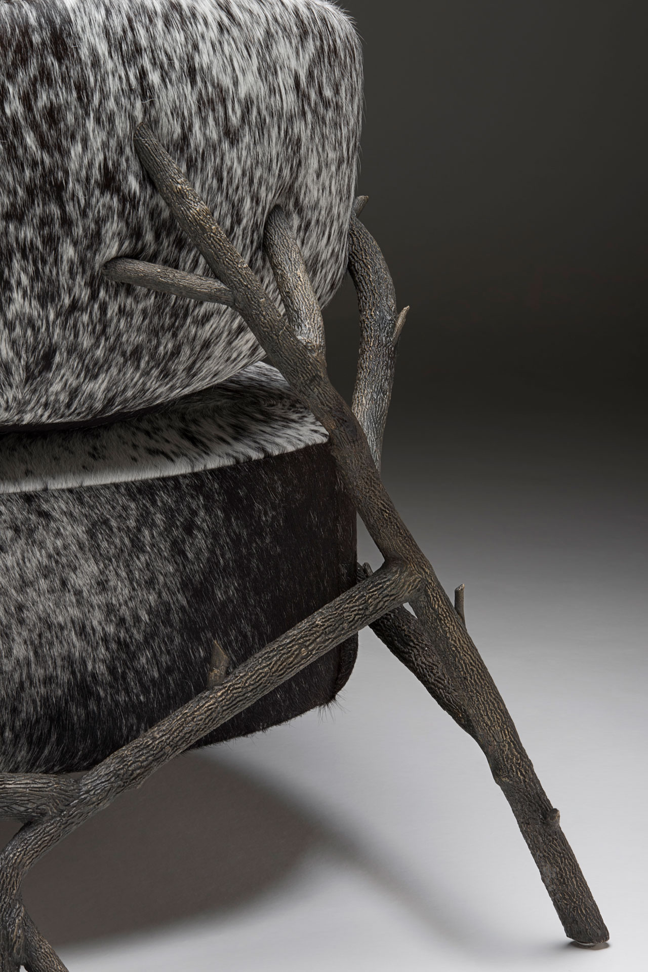Galho armchair by Juliana Vasconcellos and Matheus Barreto for Nilufar Gallery.Custom upholstery upon request. Available also in alligator leather Bronze, cow leather / h 77 x w 79 x d 92 cm / h 30.3 x w 31.1 x d 36.2 in.