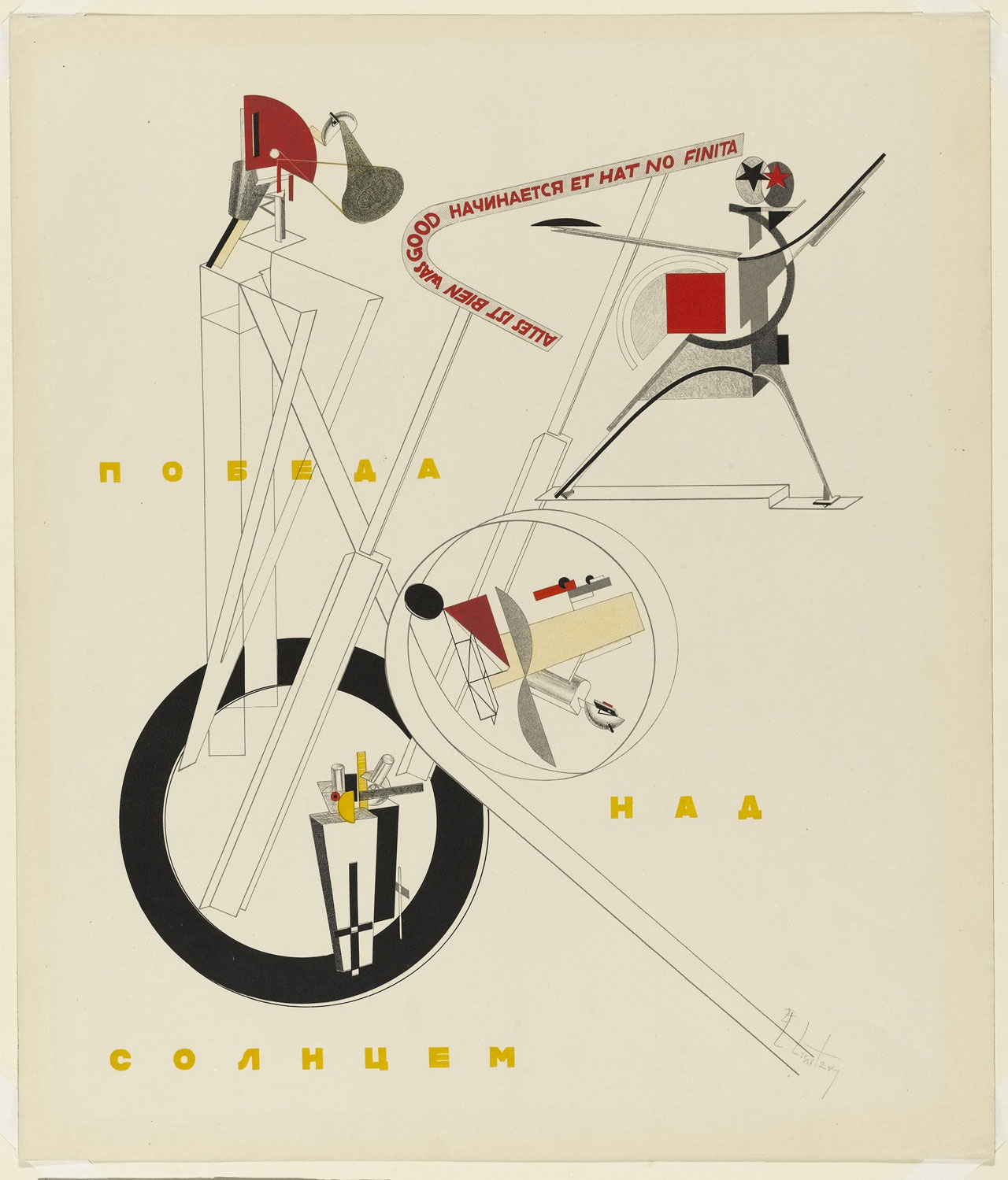 Victory over the Sun: All is well that begins well and has no end.Poster by El Lissitzky, 1913.Source Wikiart.'for illustrative purposes only'