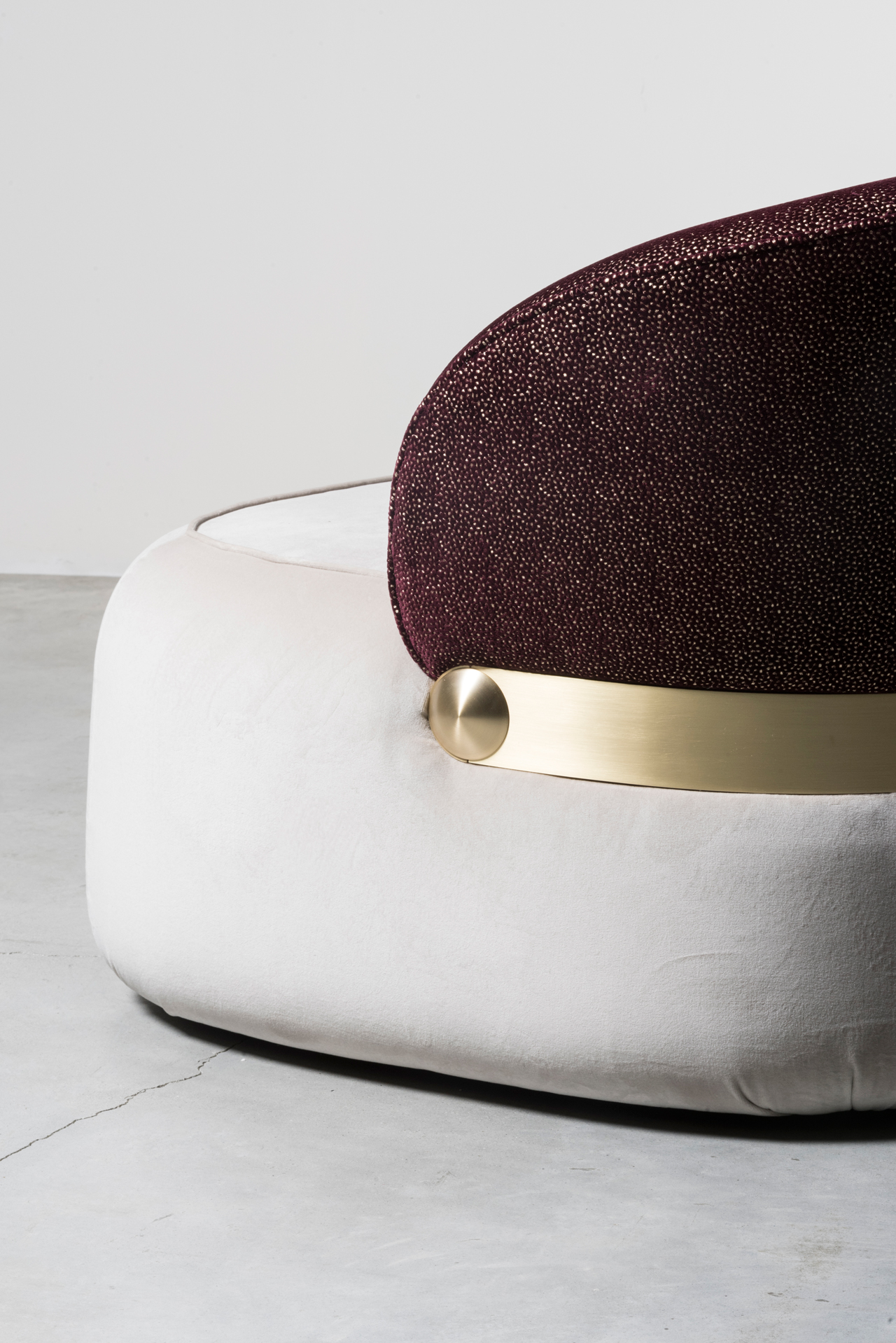 Visiera sofa (detail) by Cristina Celestino for Nilufar gallery. Photo © Daniele Iodice.
