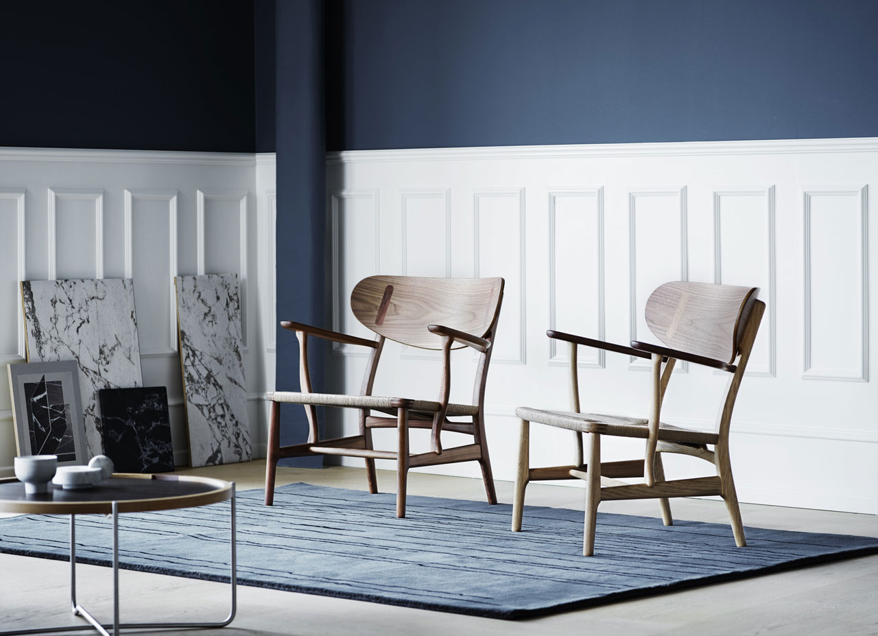 Carl Hansen & Son has recreated one of Hans J. Wegner's early designs: the 1950 CH22 lounge chair, which bears the first actual model number from the first joint collection between the innovative designer and the Danish furniture manufacturer.
