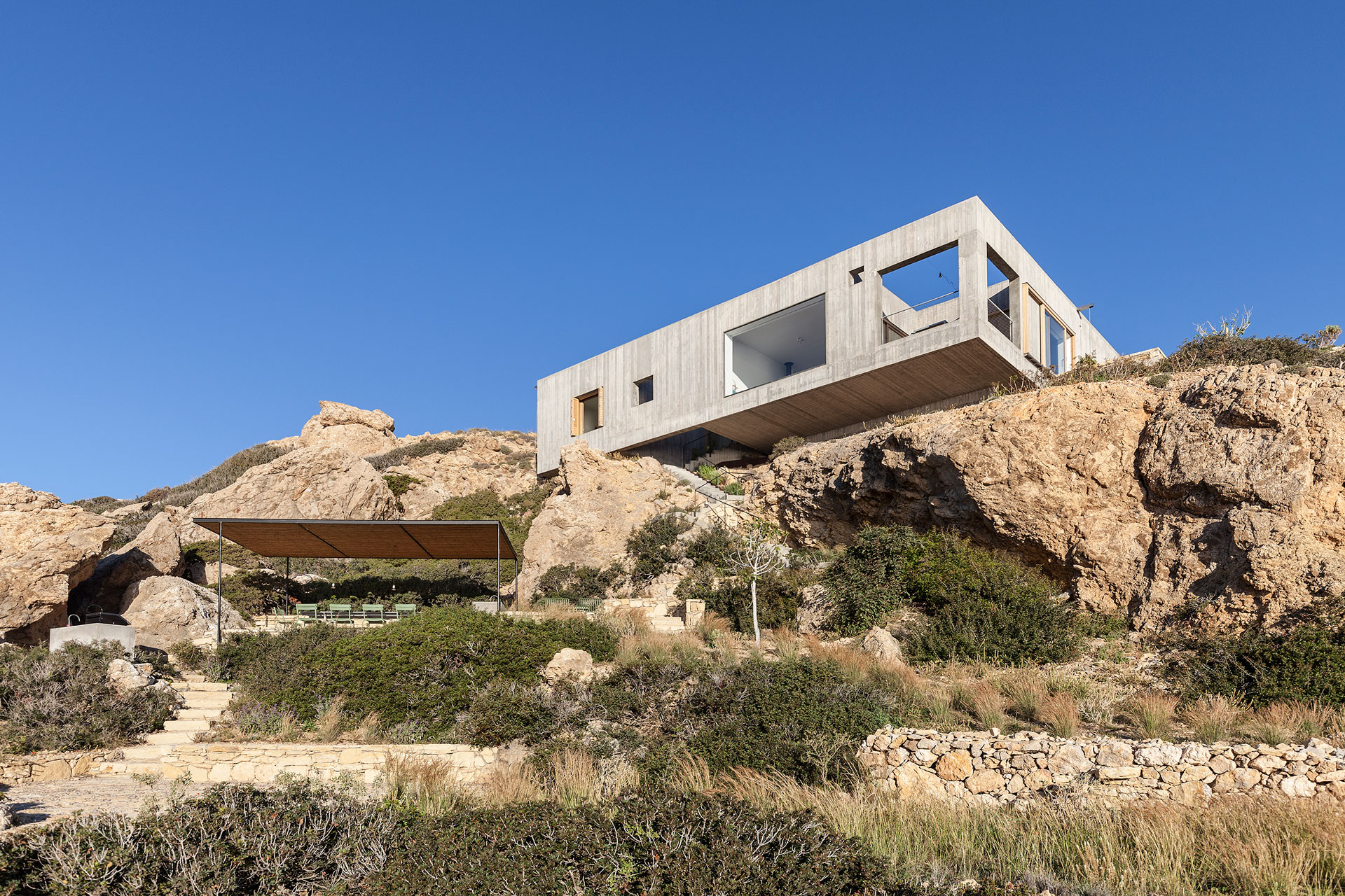 Hovering Over the Aegean: Patio House in Karpathos, Greece | Yatzer