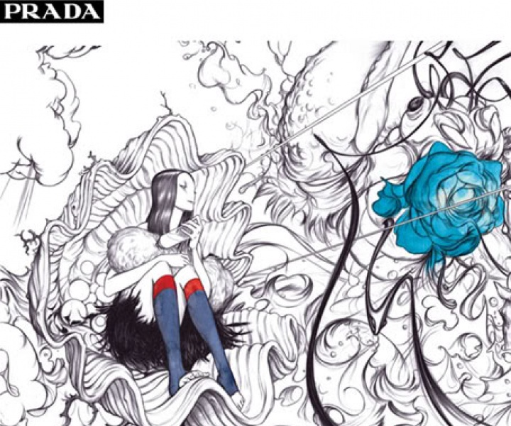FLorid wallpaper for PRADA donna show S/S 08