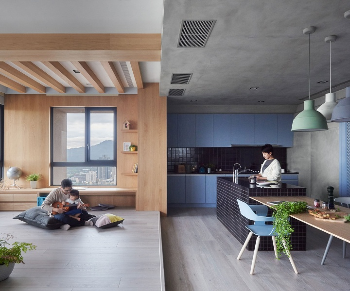 Blue and Glue: Sky-high Family Apartment in Taiwan by HAO Design