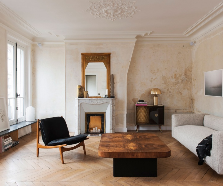 Bourgeois Opulence Meets Crisp Modernism In A Renovated Parisian Apartment by Diego Delgado-Elias