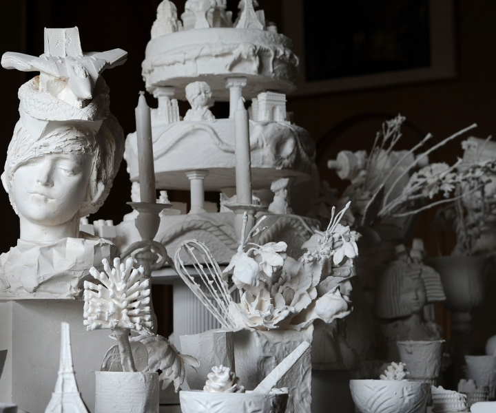 Kathy Dalwood's Plaster Busts Exhibition ''Secret Society: A Sculptural Banquet''