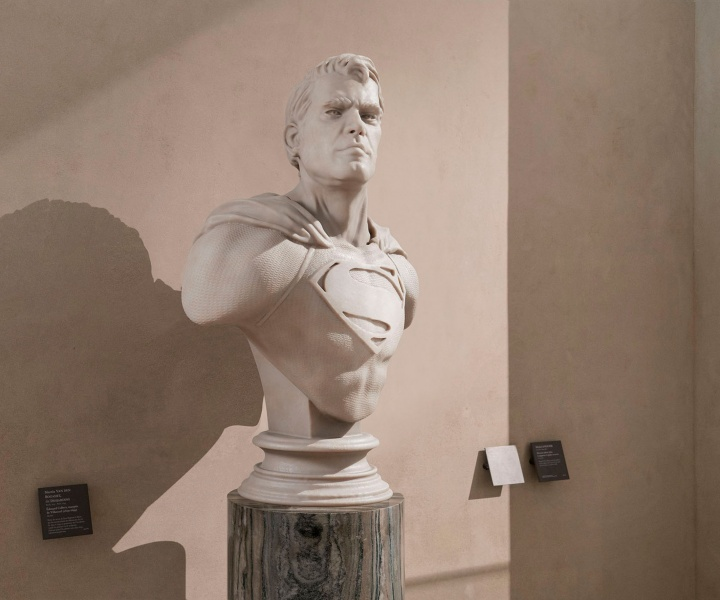 Léo Caillard's 'Heroes of Stone' Project Immortalises Superheroes as Sculptures in the Louvre