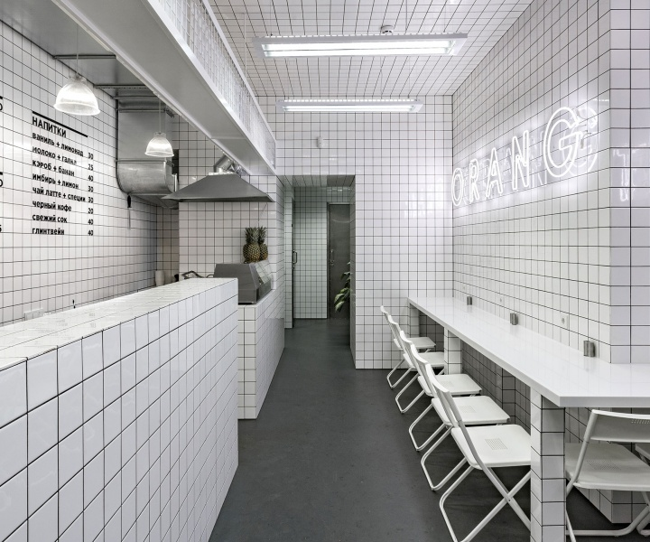 Urban Jungle meets Futuristic Grids at Orang+Utan Vegetarian Bar in Kiev, Ukraine
