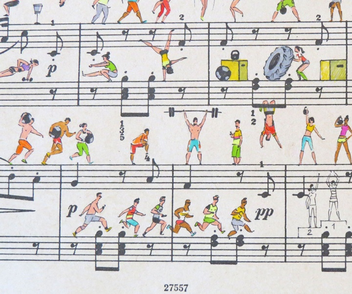 On Note: Miniature Illustrations on Sheet Music by Lena Erlich