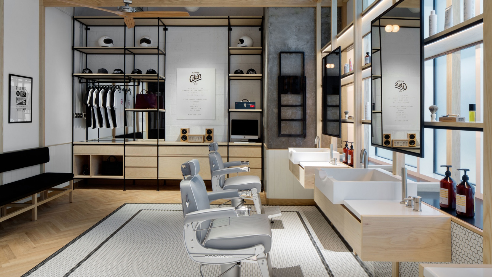 Clean-Cut Minimalism and Tradition at AKIN Barber & Shop ...