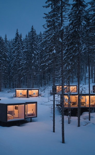 Ark-Shelter Designs Minimalist Ski Cabins for Hotel Bjornson in Slovakia