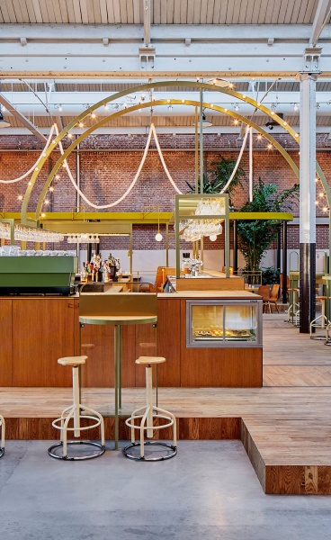 Party Inside: Studio Modijefsky Reinvents Amsterdam Tram Depot as All-Day Space
