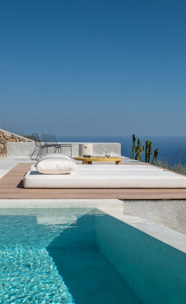 A Summer Retreat's Love Affair with the Big Blue in Santorini