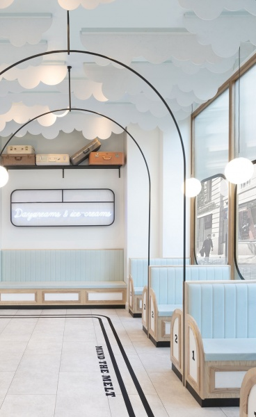 Milk Train Arrives in London's Covent Garden in Art Deco Playfulness