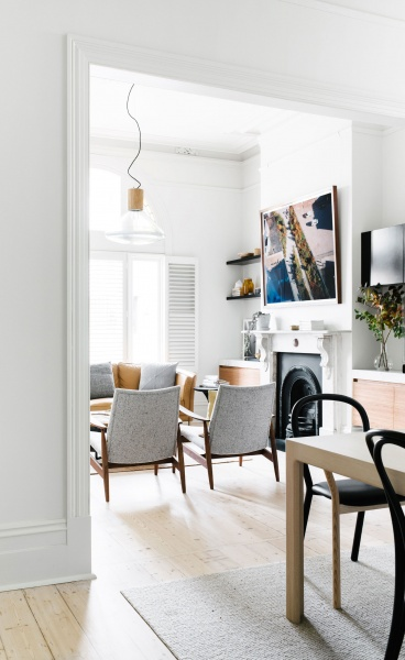 Gold-Tinged Scandinavian Simplicity for a Melbourne Apartment by Fiona Lynch